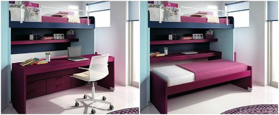 Sharing a bedroom doesn't have to be difficult. Designed by Arasanz, the Cromatic collection offers beds, storage, and desks on wheels so you can move them around easily throughout the room to better utilize the space in your kids' bedroom. (Photos from dornob.com)