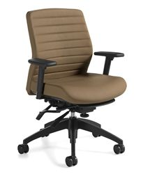 global total office aspen series mid back adjustable leather office chair with arms - Gray Leather Office Chair