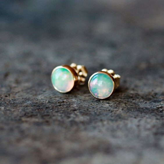 Opal Studs 14k Gold Earrings Solid Yellow Gold Post Stud Handmade Jewelry