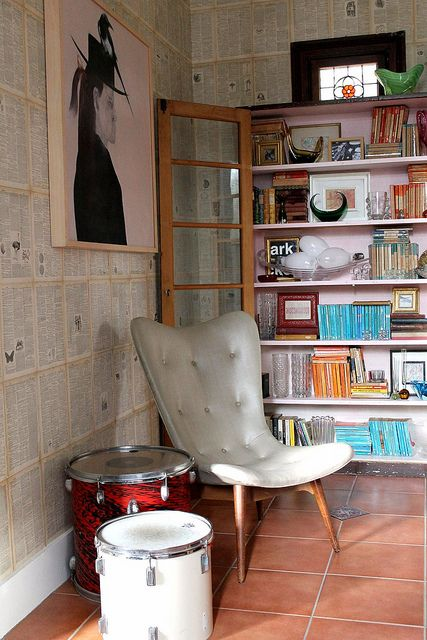 "what do I love about this?  the mod chair?  the open shelving?  the ""concrete block"" wall?  yeah"