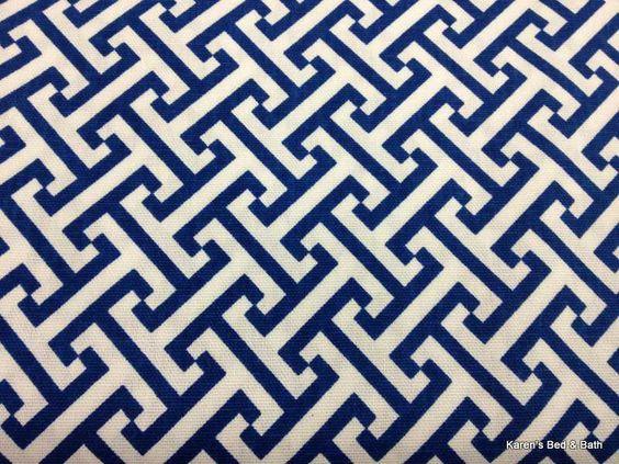 Geometric Cross Motif Navy Blue White Pattern Print Duck Fabric ...