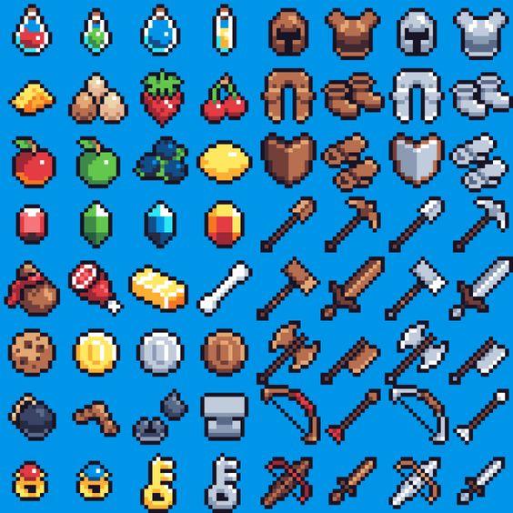 16x16 Pixel Art Rpg Items By Pixel Art Games Pixel Art Design Pixel Art Tutorial