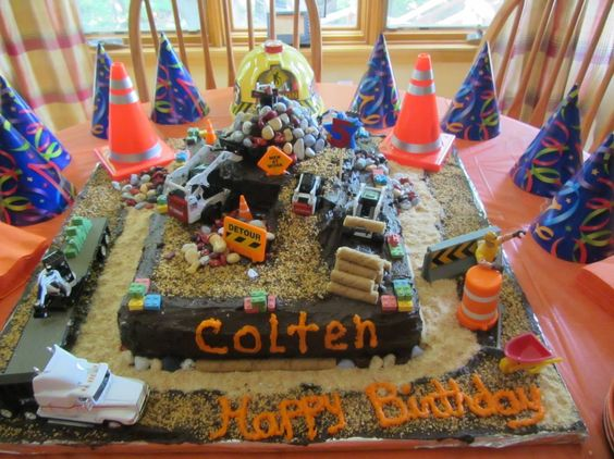 construction cake colten s 5th birthday cake made with edible on birthday cake made from cookies