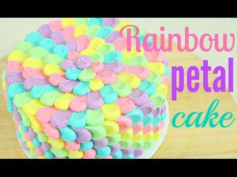 Rainbow Petal Cake - Fun & Easy way to cake decorate!