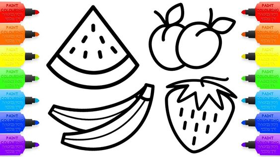 Drawing For Kids 8 Fruit Coloring Pages How To Draw Watermelon Apple And Other Fruits For Child Fruit Coloring Pages Apple Coloring Pages Fish Drawing For Kids