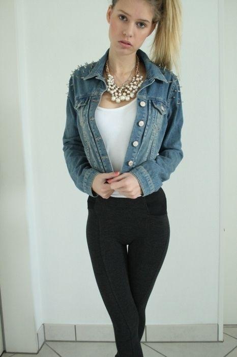 Topshop jeansjacke used nieten - kleiderkreisel.de