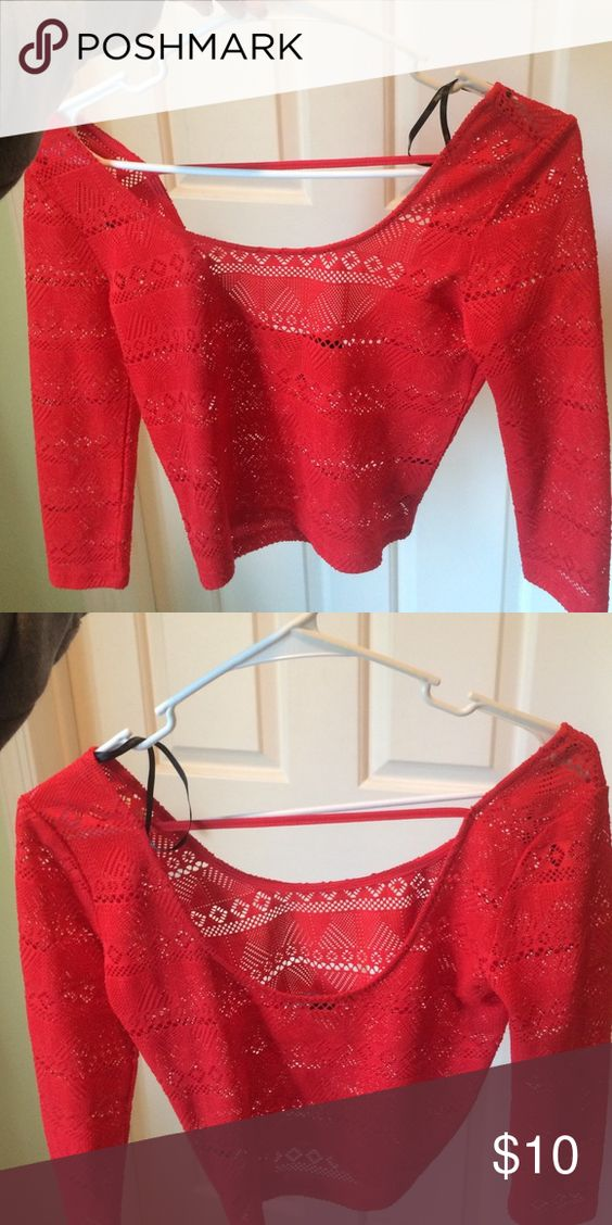 Red See Through Crop Top Never worn, summery see through crop top with scoop neck back Forever 21 Tops Crop Tops