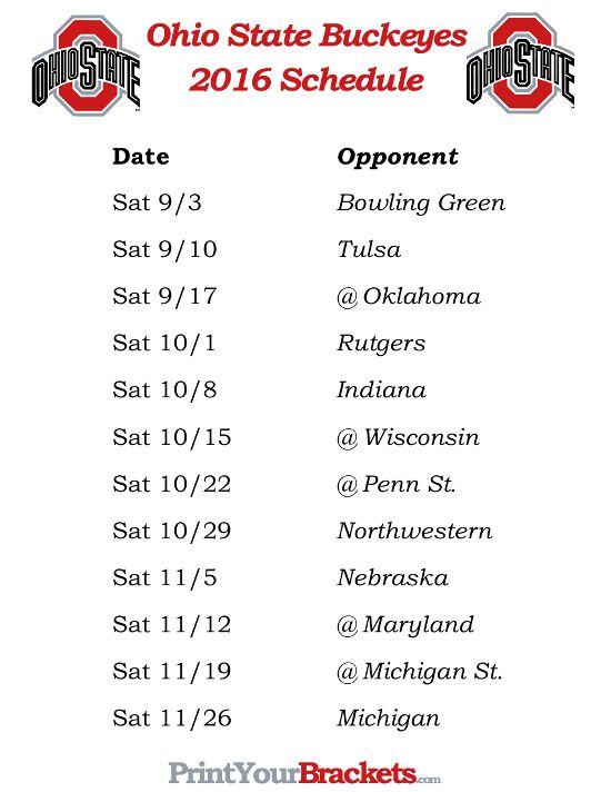 Printable Ohio State Buckeyes Football Schedule 2016
