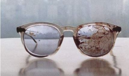 John Lennon's glasses, photographed by Yoko after his death