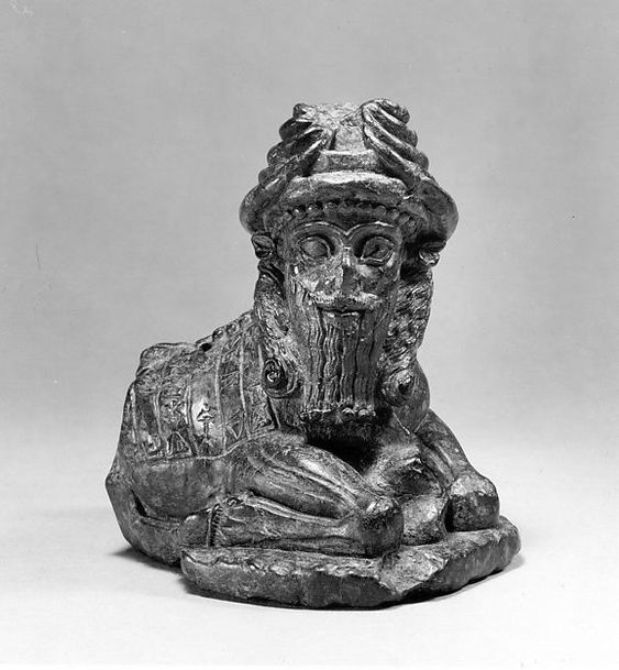 Serpentine figurine of a human headed bison - Mesopotamian, Neo-sumerian period, 2080 BC. From Girsu. Metropolitan Museum.