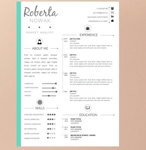 Resume Template with Cover Letter for WORD Instant par Pappermint