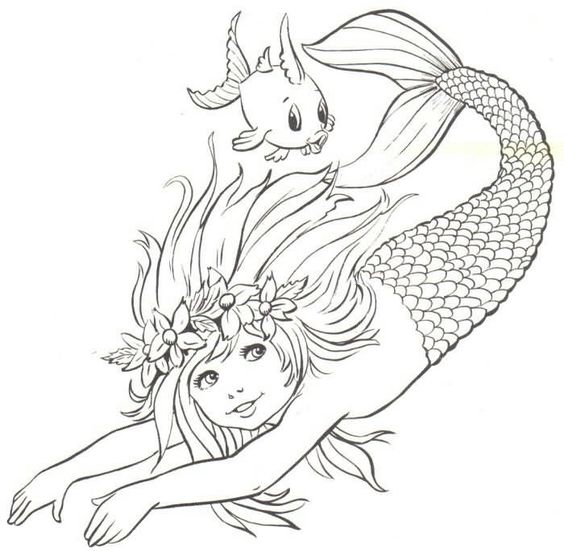 mermaid child line drawing use as inspiration --> If you're in the market for the top adult coloring books and supplies including colored pencils, drawing markers, gel pens and watercolors, visit our website at http://ColoringToolkit.com. Color... Relax... Chill.:
