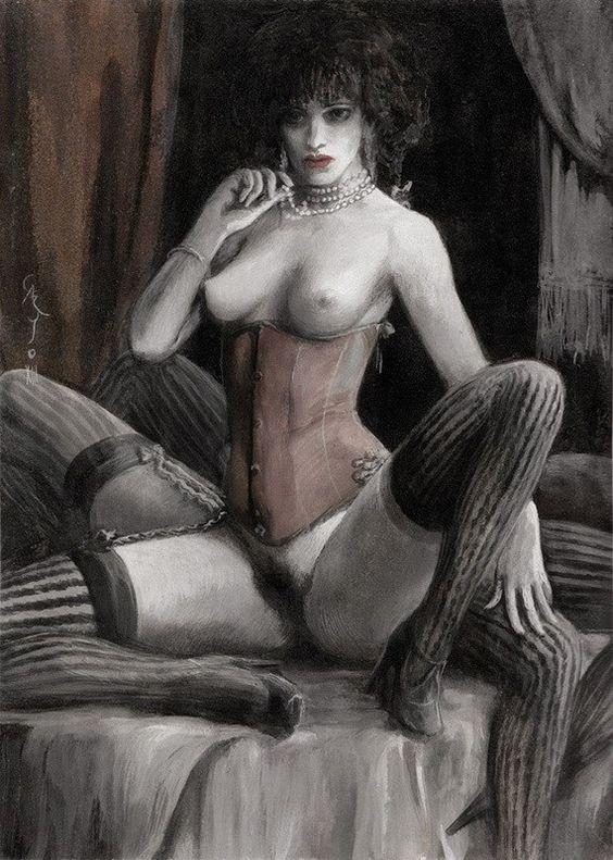 """Santiago Caruso, """"ARACNE"""", tempera over paper, 8 x 11.5 inches"""