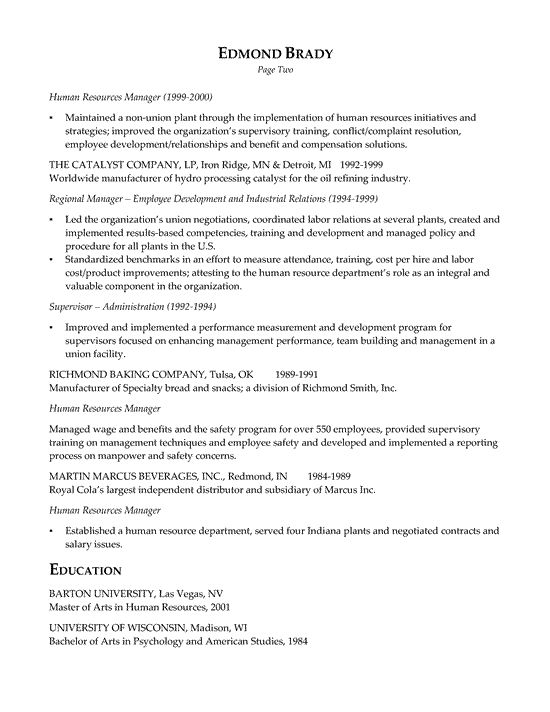 HR Executive Resume Example Sample resume, Executive resume and - hr letter
