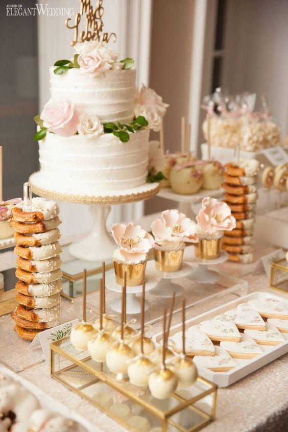 Blush and Gold Wedding Sweet Table, Gold Wedding Desserts, Wedding Sweet Table ideas | A Dreamy Winery Wedding with A Lush Floral Arbour | ElegantWedding.ca