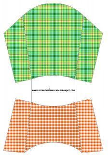 Xadrez Laranja e Verde - Kit Completo com molduras para convites, rótulos para guloseimas, lembrancinhas e imagens! - Fazendo a Nossa Festa