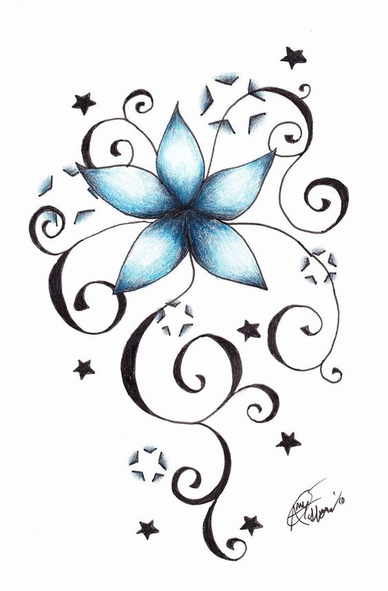 Gallery For > Tattoo Drawings Of Stars And Flowers Butterfly And Stars Foot Tattoos