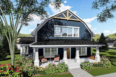 Plan 890051ah 3 Bed House Plan With Gambrel Roof In 2020 Facade