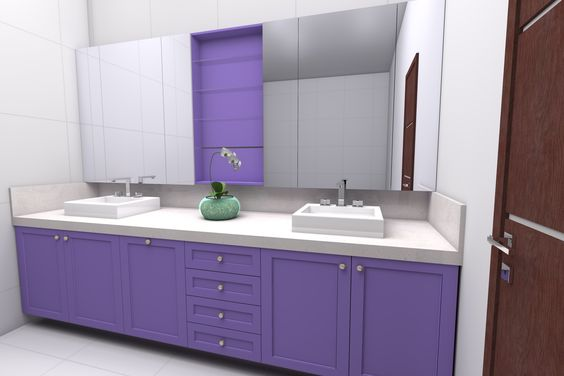 Banheiro Retro estilo Patina - Acabamento em laca lilas