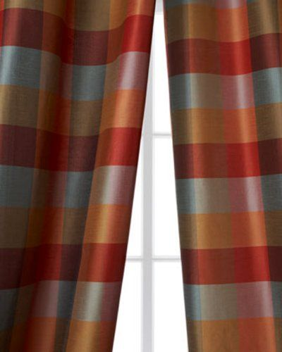 Avalon 4 inches blue,red & gold checkered faux silk curtain (52 ...