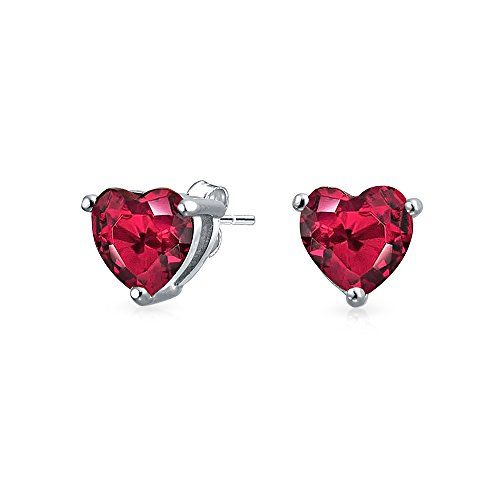 1 CT Cubic Zirconia Heart Shaped CZ Solitaire Stud Earrings Sterling Silver 7mm