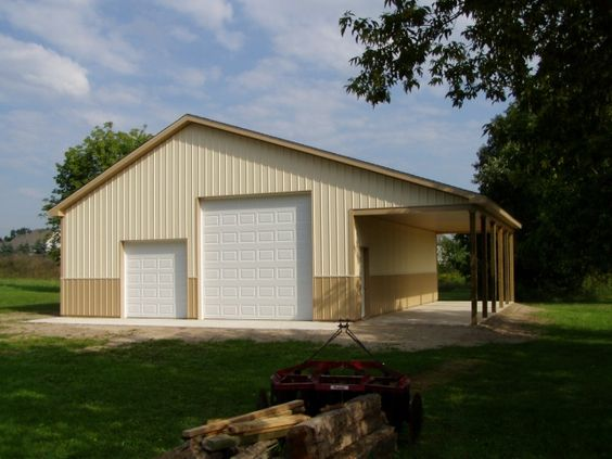 Pole barn garage barn garage and metal buildings on pinterest for Pole barn home plans with garage