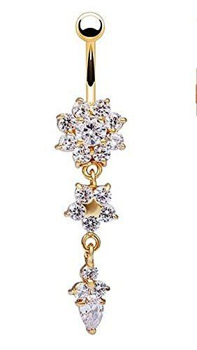 Sparkling Clear Crystal Flower, Star and Diamond Shape Dangle Belly Ring