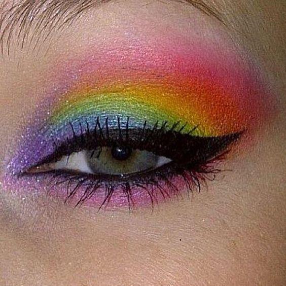 Glorious rainbow eyes by Ashley C. using Sugarpill eyeshadows!