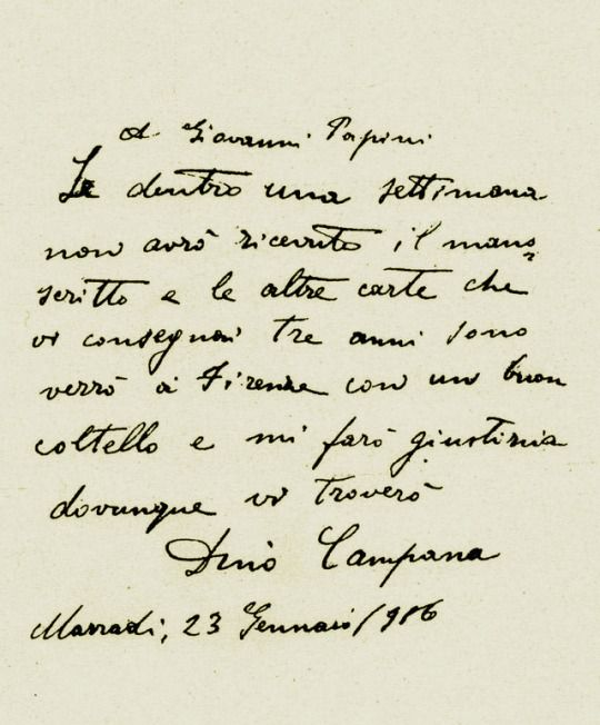 UH Magazine: Dino Campana ░ Lettera a Giovanni Papini