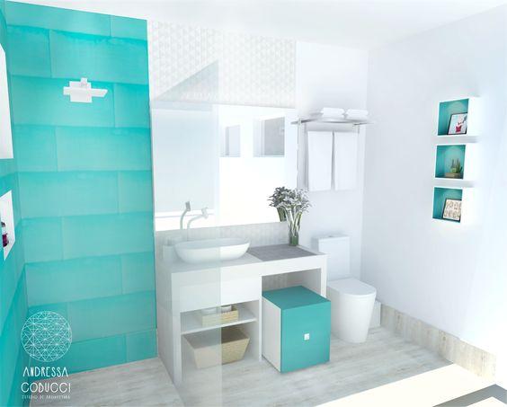 Banheiro feminino em cores claras e muita luz ...