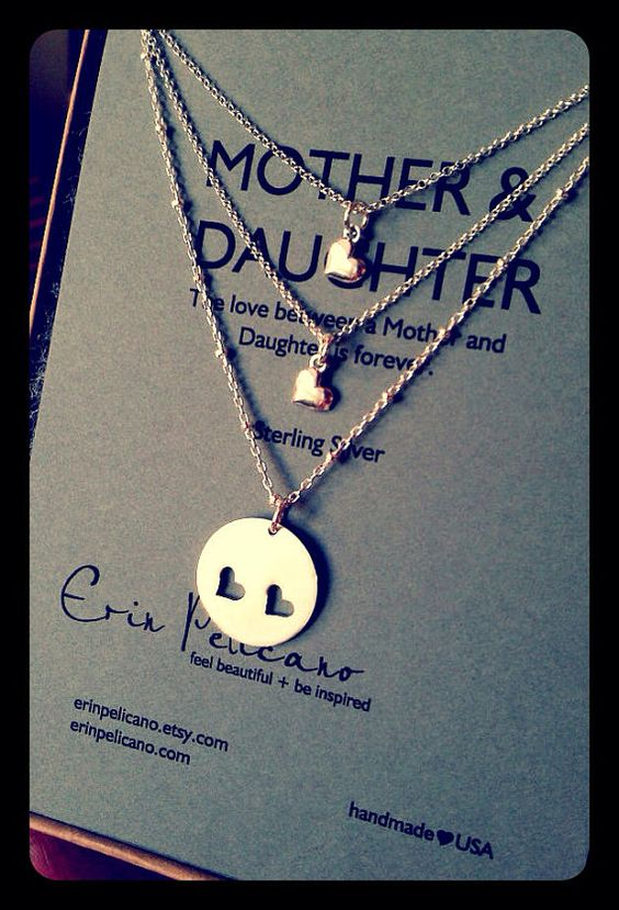 Mother Two Daughters Necklace Set // Inspirational Jewelry // Simple Delicate Sterling Silver