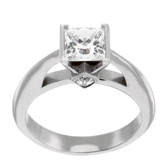 14K White Gold 2.01 cts Princess Cut Lab Created Engagement Ring $1395