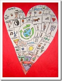 heart maps of favorite things - to go on writing folder to give ideas to write about