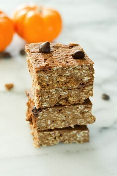Pumpkin Protein Bars // Healthy way to boost your breakfast with protein!  Gluten-free and vegan.  Great Fall snack, pack and go for woodland hikes or after school munchies.  Only 60 calories per bar!