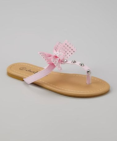 Look what I found on #zulily! Light Pink Bow & Stud Sandal by Chatties #zulilyfinds