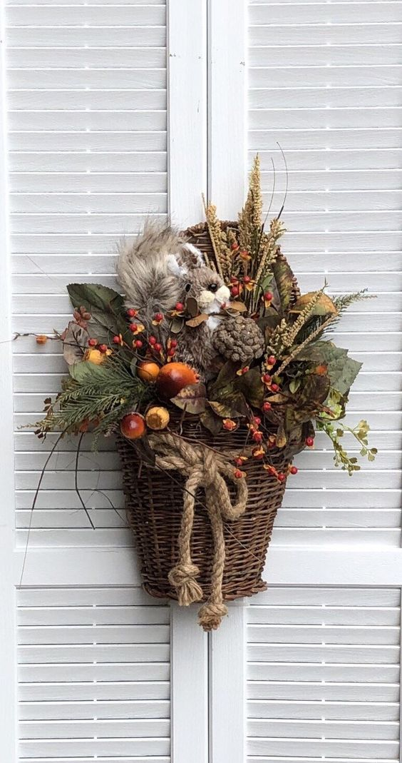 Excited to share this item from my #etsy shop: Wicker Wall Basket/Door Basket/Silk Flower Arrangement/Fall Farmhouse  Decor/Door Decor