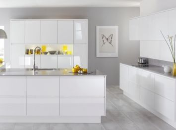 High Gloss White Kitchen with grey walls