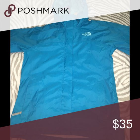Girls North Face Turquoise Raincoat This north face jacket has only been worn 2 times! And It is still in great condition. It is kids medium (10/12) North Face Jackets & Coats
