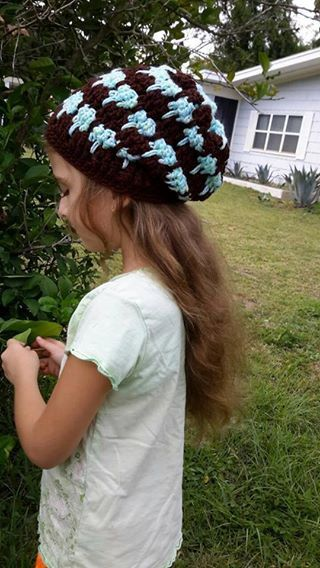 This hat is READY TO SHIP!  A D O R A B L E slouchy HAT!!!  My 6 year old Grand daughter is modeling for me ! Circumference of the hat is 15 I am