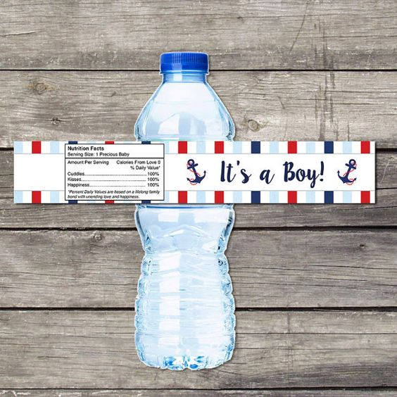 Nautical Baby Shower Water Bottle Labels for Baby Shower - Ahoy its a Boy - Anchor Baby Shower Favors - Boy 217