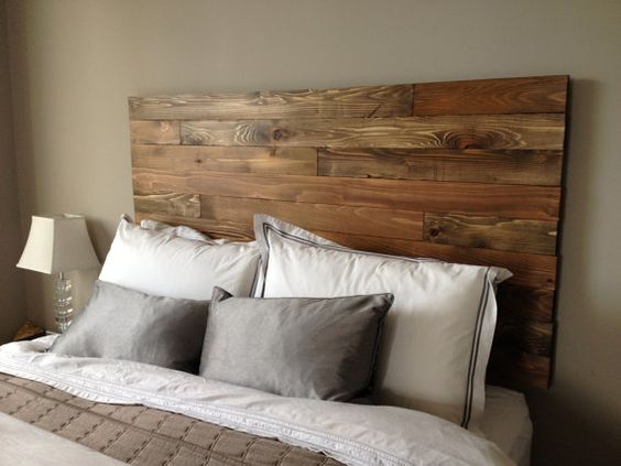 Cedar barn wood style headboard modern rustic handmade for Diy modern headboard