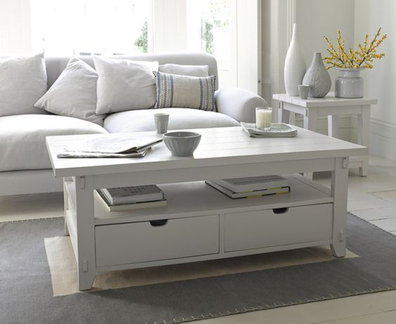 The Great White coffee table is inspired by clapboard coastal houses. It has two deep drawers & is hand-buffed in beeswax to give a lovely lived-in feel.