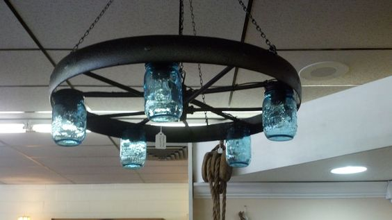 Wheel chandelier wagon wheel chandelier and mason jar light fixture