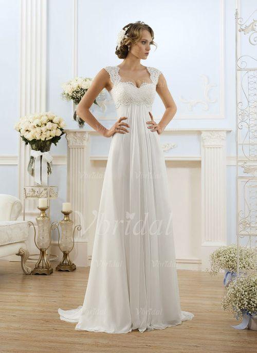 Brautkleider - $146.99 - Empire-Linie Herzausschnitt Sweep/Pinsel zug Chiffon Brautkleid mit Applikationen Spitze (0025098268)