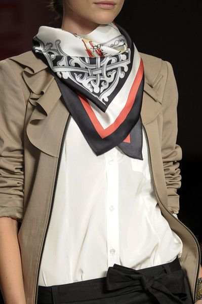 DKNY white tshirt, Hermes scarf, tan blazer, black pants with tie belt