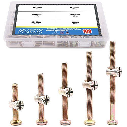Glarks 100pcs Zinc Plated M6 Hex Socket Head Cap Screws Bolts Furniture Bolts With M Barrel Nuts Assortment Kit 40m Screws And Bolts Zinc Plating Chrome Ball