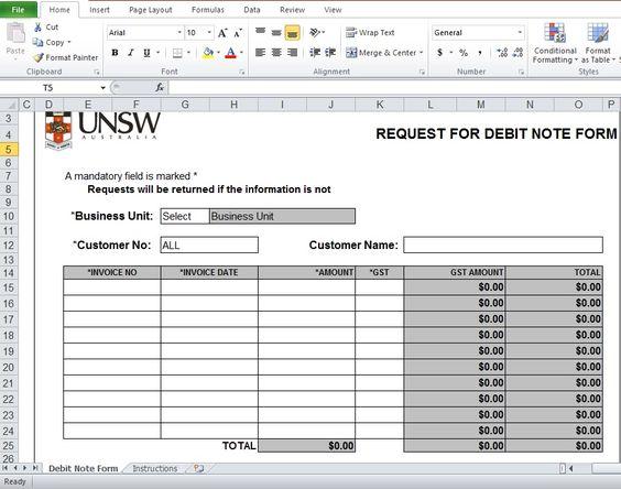 Debit Note Excel Template Format Company Templates Pinterest - payslip templates