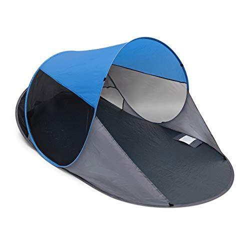 Strandzelt mit Tasche HxBxT: 120 x 270 x 120 cm Relaxdays Strandmuschel verschlie/ßbar UV 80