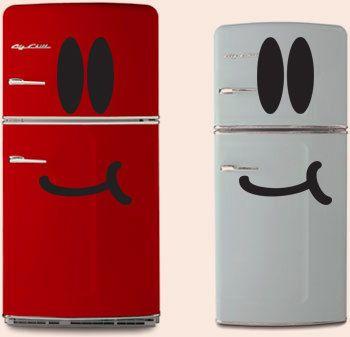 Fridge Sticker Smiley Face Freezer Refrigerator by VinyleeGraphix: