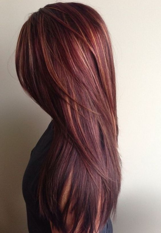 Mahogany Hair Color with Caramel Highlights